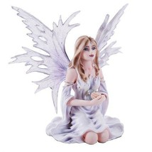 Winter Purple Lilac Fairy Snow Flake Winged Fairy Statue Crystal Orb - $71.28