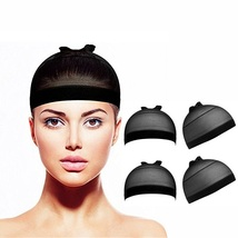 4 x Nylon Stretch Wig Unisex Caps - Black - $6.98