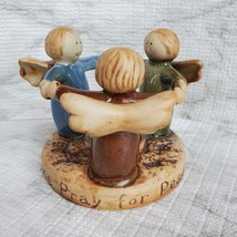 Tealight Candle Holder, Circle of Angels, Pray for Peace, Vintage Earthenware image 1
