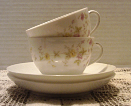 Vintage Imperial Karlsbad China Tea Cups With Saucers Austria Cottage Chic - $12.50