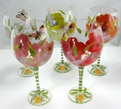 NEW 5 Wine Glasses Hand Painted Royal Danube Romania Stem Goblets - Exqu... - $20.95