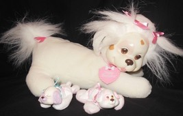 Vintage Hasbro Puppy Surprise Pink White Dog 2 Puppies Plush Mama Babies - $47.51