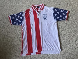 Large Vtg Bikers Indiana Gold Wing Road Riders Polo Flag Shirt  - $8.80
