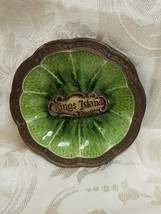 Vtg Souvenir Kings Island Treasure Craft USA Green Glazed Ashtray Ceramic - $7.84