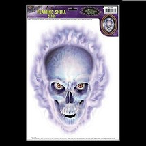 Emo Gothic Horror Prop-FLAMING SKULL CLING-Car Window Decal Halloween De... - $4.92