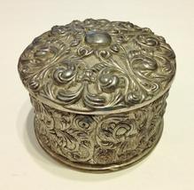 Ornate Round Silver Metal Trinket Jewelry Box Vintage Scroll Velvet Lined - $40.00