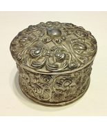 Ornate Round Silver Metal Trinket Jewelry Box Vintage Scroll Velvet Lined - $40.00