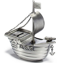 Silver Pirate Ship Metal Money Bank Antique Style Pewter Finish - $30.68