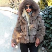 Women's thick Faux Fur Fox Fur Hooded Coat image 5