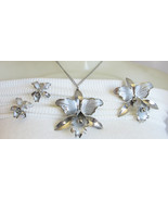 "Lovely Vintage Silver Plated Metal Orchids 2.5"" Brooch Necklace Earrings... - $40.49"