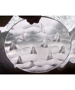 Claus Josef Riedel Crystal Cut Art Glass Plate Marked Pine Trees Austrian  - $49.98