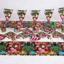 87pcs/set Masha and bear Cartoon Birthday Decorative Party Event Supplie... - ₨1,606.31 INR