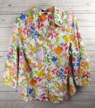Chap Shirt Top 2X Multi Color Floral 3/4 Sleeve - $18.99