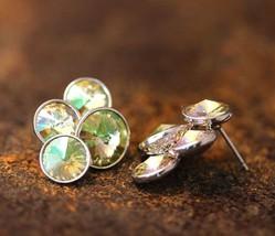 Mystic Crystals Earrings Circle Drops Swarovski Elements Pretty Gift Idea - $11.88
