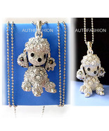 Puppy Dog Poodle Silver Color Kids Crystal Pendant Necklace Charm /Free ... - $11.39