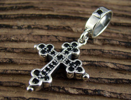 P256S Sterling Silver 925 Cross Onyx Pendant for Chain Necklace Gothic Charm - $37.27