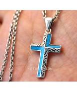 Sterling Silver Turquoise Cross Pendant Necklace 925 Chain Gift Idea Bir... - $55.94+