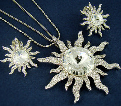 Women's Silver Plated Sun Pendant Necklace Stud Earrings Set Swarovski Crystal - $23.27