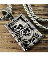 Mens Retro Burnished Asian Dragon Onyx Square Pendant Necklace Punk Ride... - $19.45