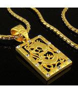 High-Q 18k Gold Nano Injection Plated Mens Dragon Crystal Pendant Chain ... - $19.45