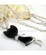 Womens Black ONYX Cat Pendant Necklace Crystal Animal Kitty Silver Plate... - $17.33