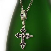Classic Sterling Silver 925 Onyx Cross Pendant Necklace Set Retro P256SC - $51.98