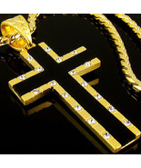 "1.57"" Cross Pendant w 28"" Chain 18K Gold Plated Mens Onyx Mens Necklace ... - $23.41"
