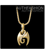 18k Gold NanoInjection Plated Mens Double Dragons Crystal Pendant Chain ... - $19.45