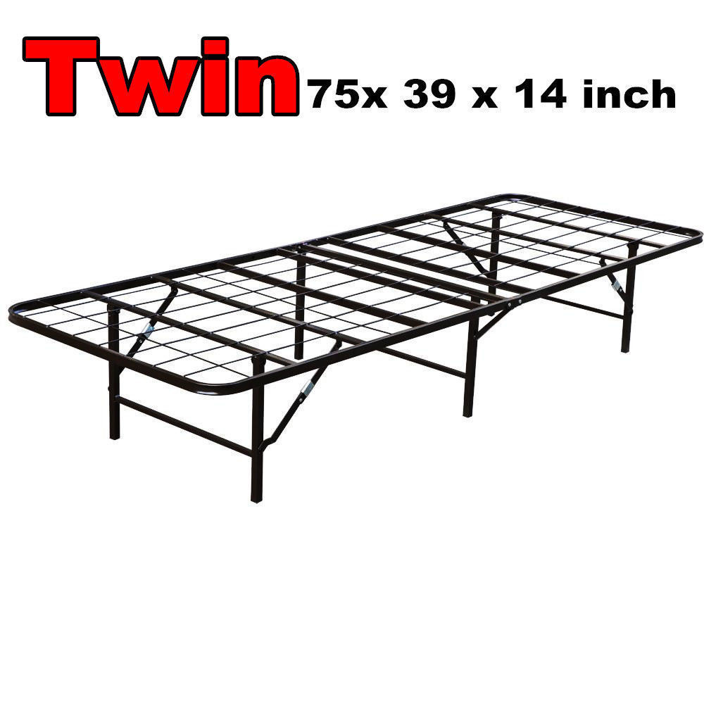 Folding metal bed frame twin queen king size platform for Simple twin bed frame