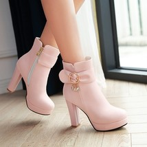 pb133 elegant high heeled booties w crystal pendent, US Size 4-8, pink - $48.80