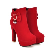 pb133 elegant high heeled booties w crystal pendent, US Size 4-8, red - $48.80