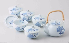 [Value] Hasami Porcelain : BLUE FLOWER - Kyusu Tea pot & 5 tea cup Set w... - $229.08
