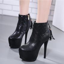 pb135 cutie high-heeled booties w fringe back, US Size 4-8, black - $52.80