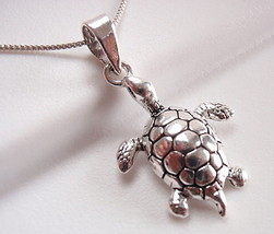 Turtle Necklace 925 Sterling Silver Corona Sun Jewelry slow deliberate w... - $16.73