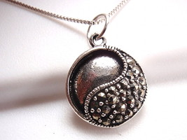 Yin Yang Marcasite Necklace Sterling Silver Corona Sun is Start Point fo... - $16.73