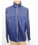 Victorinox Mens XL Navy Blue Warm-Up Jacket White Stripes Under Arms Dow... - $47.68