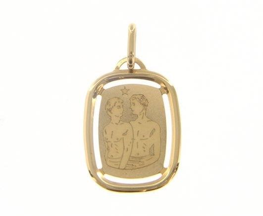 SOLID 18K YELLOW GOLD GEMINI ZODIAC SIGN MEDAL PENDANT, ZODIACAL, MADE IN ITALY