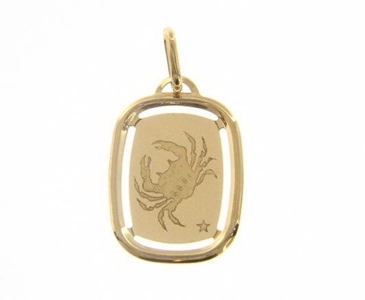 SOLID 18K YELLOW GOLD CANCER ZODIAC SIGN MEDAL PENDANT, ZODIACAL, MADE IN ITALY
