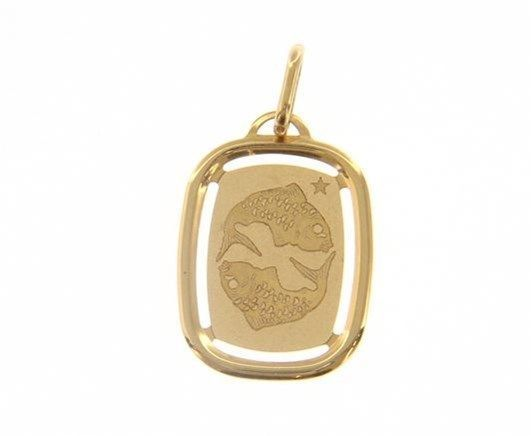 SOLID 18K YELLOW GOLD PISCES ZODIAC SIGN MEDAL PENDANT ZODIACAL MADE IN ITALY