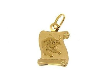 18K YELLOW GOLD ZODIAC SIGN MEDAL, TAURUS, PARCHMENT ENGRAVABLE MADE IN ITALY