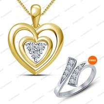 925 Silver Yellow GP Round Sim Diamond Women's Double Heart Pendant & Fr... - $38.99
