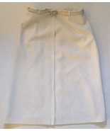 Vintage Long White Classy Skirt With Belt 28 Inch Waist Straight Career ... - $13.85