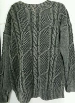 Vintage Braemar Handknit Sweater Large L Black Grey Cable Knit NWT    - $29.69