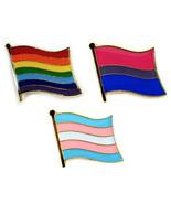 """Juego de 3 Lgbt Orgullo Pin Broche Bandera 0.5"""" Lésbica Gay Bi Trans Cordón - $6.90"""