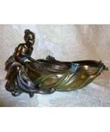Resin Bronze Sculpture Woman At Edge Of Lilly Pond Dish 2004 Signed - $65.00