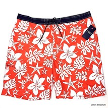 Chaps Swim Trunks Suit Board Shorts 2XL Orange White Tropical Flowers Starfish - $24.74