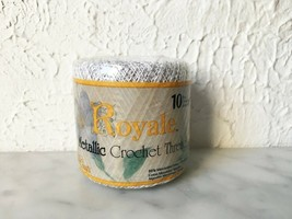 J & P Coats Royale Metallic Crochet Thread Size 10 - 1 Ball Color White/... - $6.60
