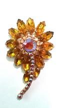 Gorgeous Flower Brooch Vintage Pin Topaz AB Rhinestones - $62.99