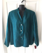 Womens M Collection Teal Green Turquoise Career Blazer Jacket Sz 16 NEW NWT - $67.99