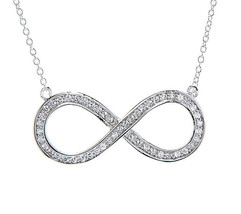 STERLING SILVER CUBIC ZIRCONIA SMALL INFINITY SYMBOL NECKLACE - $29.91